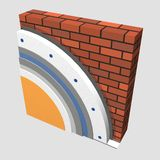 Polystyrene wall insulation 3d scheme. 3D layered scheme of exterior wall insulation using polystyrene or styrofoam panels for thermal isolation Stock Photo