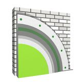 Polystyrene wall insulation 3d scheme. 3D layered scheme of exterior wall insulation using polystyrene or styrofoam panels for thermal isolation Stock Images