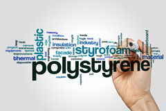 Polystyrene word cloud. Concept on grey background Stock Image