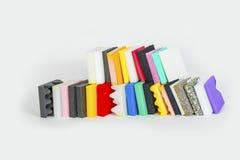 Polystyrenformen in den verschiedenen Farben und in den Größen Lizenzfreies Stockbild