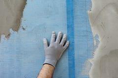 Polystyrenisolering av väggen Arkivfoto