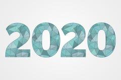 Polysymbol des vektors 2020 Abstrakte Dreieckillustration des guten Rutsch ins Neue Jahr Dekorative blaue geometrische Ikone Stock Abbildung