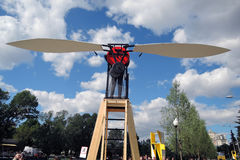 Polytech Festival in Gorky park, Moscow. Wings training apparatus. MOSCOW - MAY 25, 2017: Wings training apparatus at Polytech Festival in Gorky park, Moscow Stock Photo