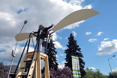 Polytech Festival in Gorky park, Moscow. Wings training apparatus. MOSCOW - MAY 25, 2017: Wings training apparatus at Polytech Festival in Gorky park, Moscow Stock Images