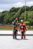 Polytechfestival in het park van Gorky, Moskou De actoren stellen voor foto's Stock Foto's