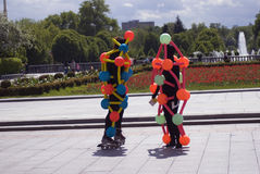 Polytechfestival in het park van Gorky, Moskou De actoren stellen voor foto's Royalty-vrije Stock Fotografie