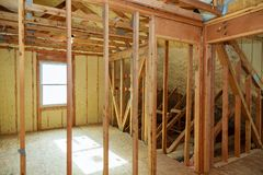 Polyurea opryskiwanie, piankowa narzut izolacja dach Zdjęcie Stock