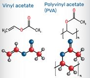 Polyvinyl acetate PVA polymer and vinyl acetate monomer molecu. Le . Structural chemical formula and molecule model. Vector illustration Stock Image