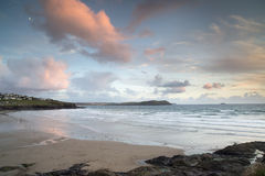 Polzeath beach in cornwall england at sunset Royalty Free Stock Image