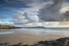 Polzeath beach in cornwall england at sunset Stock Image