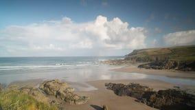 Polzeath beach in england timelapse stock video footage
