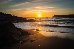 Polzeath solnedgång Arkivfoton