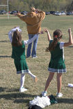 Pom Pom Practice-feet in focus. Little girls practicing for peewee football Royalty Free Stock Photography