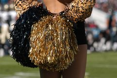 Pom Poms. Cheerleader stands ready to cheer on her team Royalty Free Stock Images