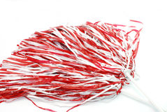 Pom Poms. Two red and white shakers isolated on white background Stock Images