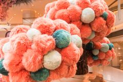 Pom Poms in a mall in Hong Kong. China Stock Images