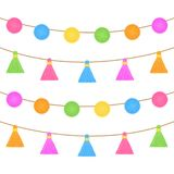 Pom poms and tassels on string vector graphic Royalty Free Stock Images