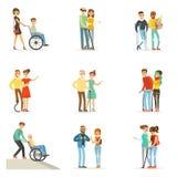 Pomaga i dba dla niepełnosprawni ustawiających dla etykietka projekta Kreskówek szczegółowe kolorowe ilustracje ilustracja wektor