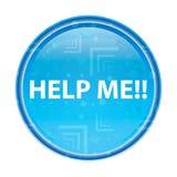 Pomaga Ja! kwiecisty błękitny round guzik ilustracja wektor