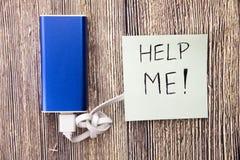 Pomaga Ja nutowy i energetyczny bank jest teraźniejszy w obrazku wizerunek pomocy notatkę, ludzie pomóc gdy potrzebują w różnym Zdjęcie Stock