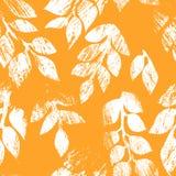 Pomarańcz i białego zakłopotanego jesień liści grunge bezszwowy wzór, wektor Obraz Stock