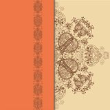 Pomarańcze, beż i Brown wzór z Koronkowym faborkiem, Zdjęcie Stock