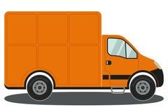 Pomarańcze ciężarowy boczny widok odizolowywający na białym tło plakacie ilustracja wektor