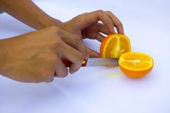 Pomarańcze cięcie Obrazy Royalty Free
