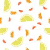 Pomarańcze, cytryna, Grapefruitowy bezszwowy tło wzór Obrazy Stock