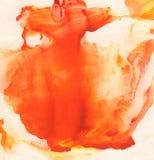 Pomarańcze, czerwieni i koloru żółtego abstrakcjonistyczna ręka, malował tło Obrazy Stock