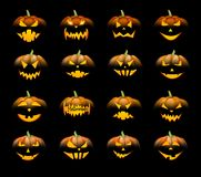 Pomarańcze 3d Halloween banie ustawiać Zdjęcie Royalty Free