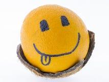 Pomarańcze dobry humor, zabawa i przyjemność z smiley -, Obrazy Stock
