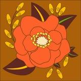 Pomarańcze i Żółty kwiatu wektor na Brown tle Zdjęcia Stock