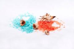 Pomarańcze i błękitna kąpielowa sól Zdjęcia Stock