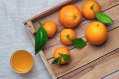 Pomarańcze i tangerines w drewnianym pudełku na kanwie sok pomarańczowy white odizolowane Obraz Stock