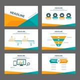 Pomarańcze i zieleni broszurki ulotki ulotki strony internetowej wielocelowego szablonu płaski projekt Zdjęcia Stock