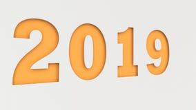 Pomarańcze 2019 liczb ciących w białym papierze Obraz Stock