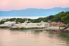 Pomarańcze plaża w evening Halkidiki, Sithonia, Grecja, Europa zdjęcia stock