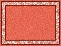 Pomarańcze rama z kwiecistym wszywki i papieru tłem Obrazy Stock