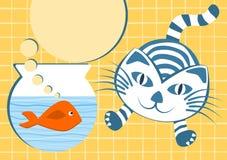Pomarańcze ryba i skokowy kot ilustracji
