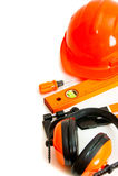 pomarańcze styl Pracujący narzędzia na białym tle Fotografia Stock