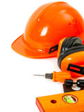 pomarańcze styl Pracujący narzędzia na białym tle Zdjęcia Stock