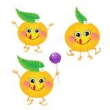 Pomarańcze, wektorowy charakter na białym tle Zdjęcia Royalty Free
