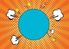 Pomarańcze, yelow promienie i kropka wystrzału sztuki tło, chmury i mowa okręgu bąbel dla teksta retro wektorowa ilustracja dla royalty ilustracja