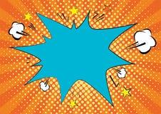 Pomarańcze, yelow promienie i kropka wystrzału sztuki tło, chmury i mowy gwiazdy bąbel dla teksta retro wektorowa ilustracja dla royalty ilustracja