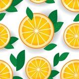 Pomarańcze z zielenią opuszcza bezszwowego wzór wektor Obraz Royalty Free