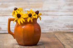 Pomarańcze ziemi brzmienia ceramiczny miotacz trzyma z podbitym okiem Susan flowe fotografia stock