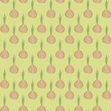 Pomarańczowa śliczna żarówka z zieleń skrótu cebulą upierza na lekkiej pozytywnej zieleni tła tekstury bezszwowym wzorze ilustracji