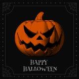 Pomarańczowa dźwigarki bani głowa na zmroku BG dla Halloween Fotografia Royalty Free
