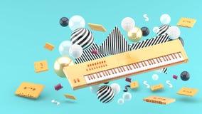 Pomarańczowa fortepianowa klawiatura i pomarańczowa taśma wśród kolorowych piłek na błękitnym tle royalty ilustracja